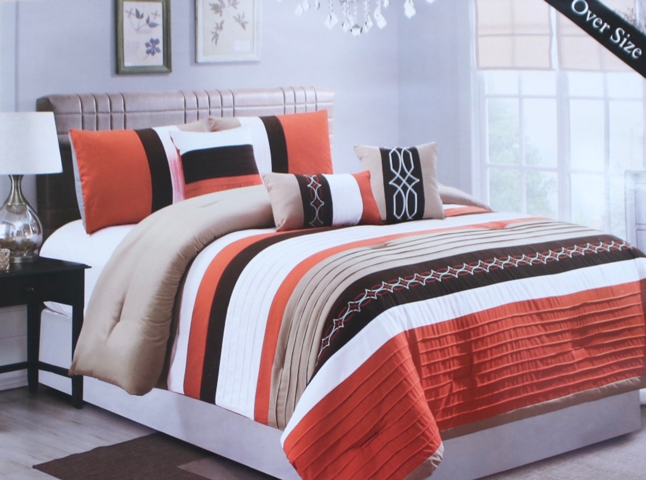6 Piece Orange And Brown Comforter Set Lashell S Furniture Decor