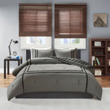 Free Shipping! Gray Oxford Reversible Comforter Set by Intelligent Design