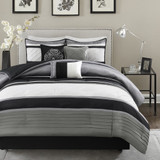 Free Shipping! Black and Silver Lustrous 7 Piece Comforter Set