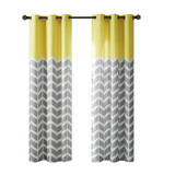 Free Shipping! Yellow and Grey Alex Chevron Printed Grommet Room Darkening Black Out  Curtains  by Intelligent Design (Set of 2)
