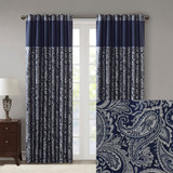 Free Shipping! Navy and  Silver Paisley Aubrey Jacquard Curtains  by Madison Park (Set of 2)