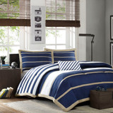 Free Shipping! Blue and Beige Comforter Set