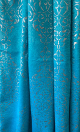Madison Turquoise and Silver Blackout Window Curtain (1) Panel