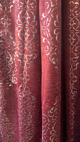 Madison Burgundy and Metallic Silver Blackout Window Curtain (1) Panel