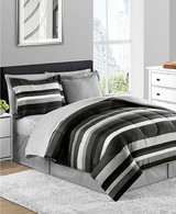 Gray and Black Striped 8-Pc. Reversible Comforter Set