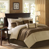 Sale! Brown & Taupe Microsuede 7 Piece Comforter Set by Madison Park