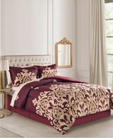 Amalanta Burgundy & Gold Queen 8-Pc. Reversible Comforter Set