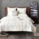 Sale! White 3 Piece Elastic Embroidered Cotton Duvet Cover Set INK+IVY-Free Shipping!