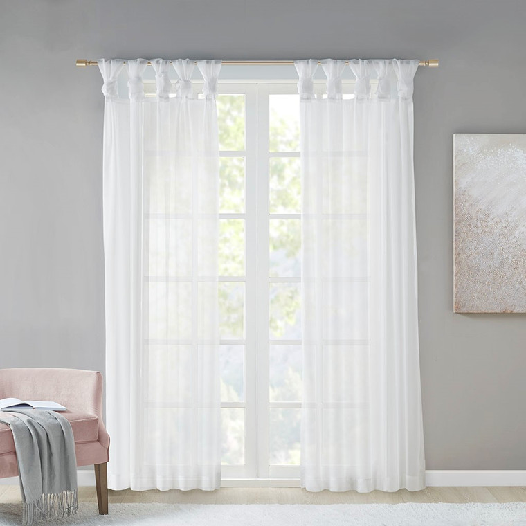 Free Shipping! Ceres Twist Tab Voile Sheer  White Window Curtains by Madison Park (Set of 2)