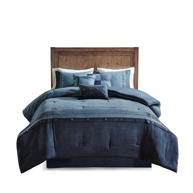 Free Shipping! Navy Blue 7 Piece Comforter Set