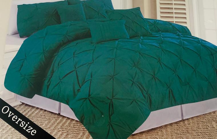 Jade Green 6 Piece Pleated Comforter Set