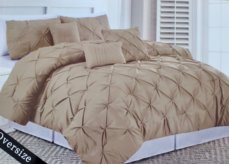 Dark Beige  6 Piece Pinch Pleated Comforter Set