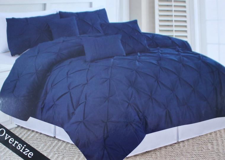 Navy Blue 6 Piece Pinch Pleated  Comforter Set