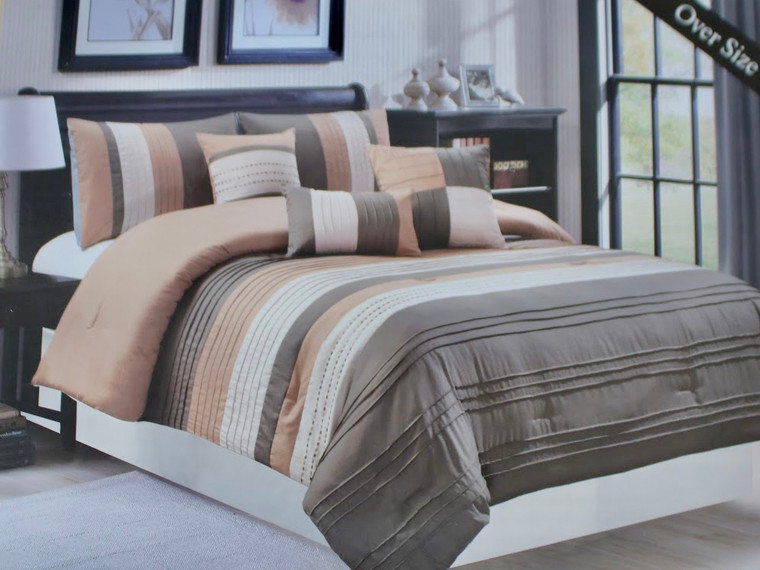 6 Piece Neutral Brown and Gray Comforter Set