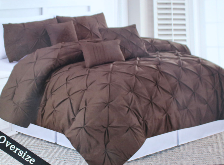 Brown 6 Piece Pinch Pleated Oversize Comforter Set