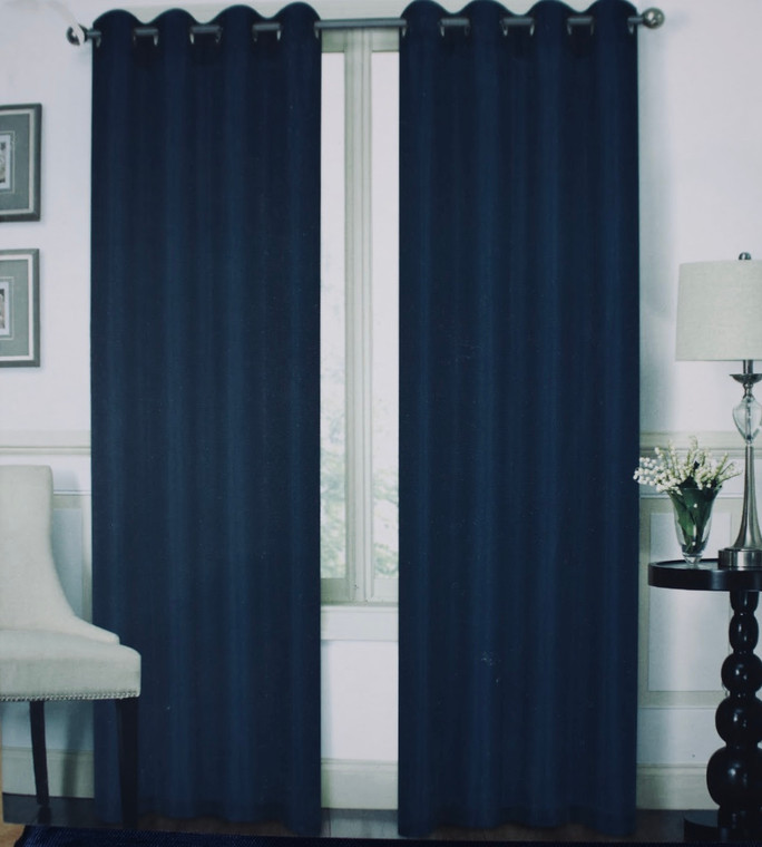 Austin Navy Blue One Grommet-Top Window Curtain (1) Panel