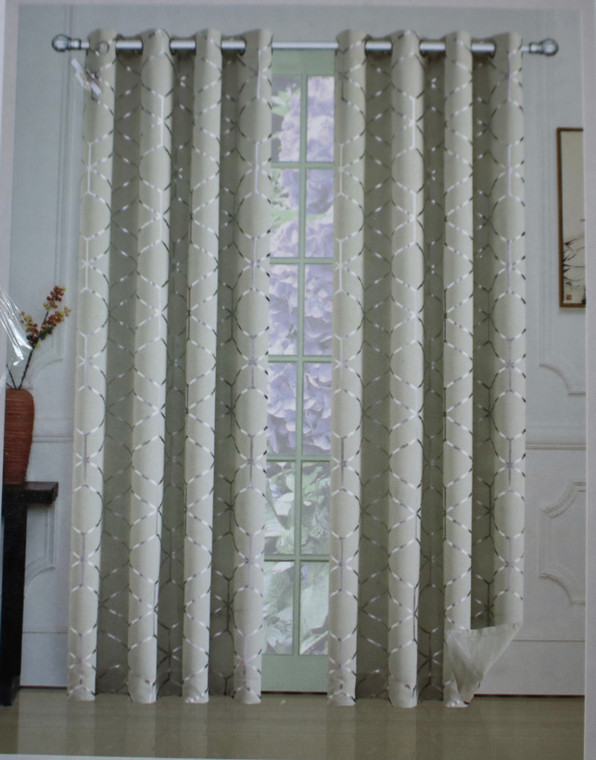 Omaha Cream and Metallic Silver Blackout Window Curtain (1) Panel