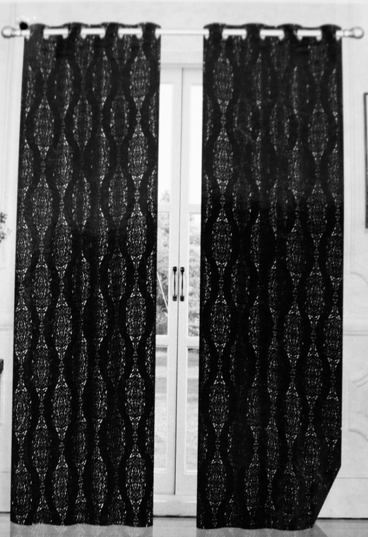 Madison Black & Silver Blackout Window Curtain (1) Panel