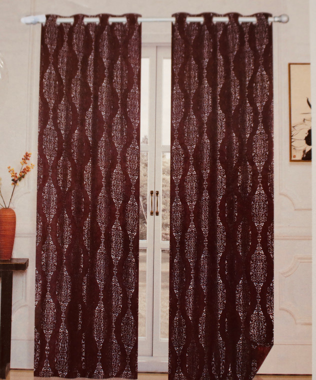 Madison Burgundy and Metallic Silver Blackout Window Curtain (1) Panel