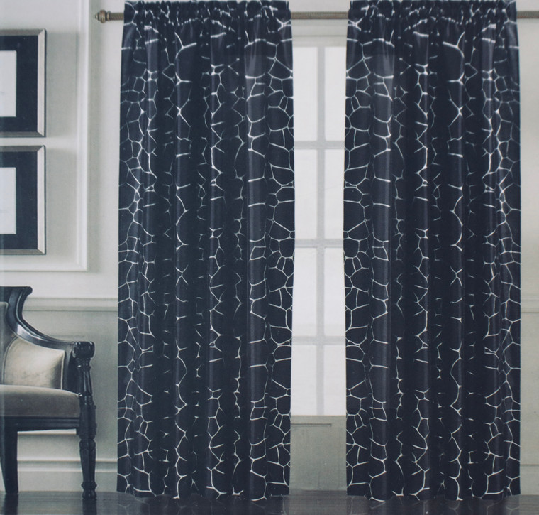 Alice Black & Metallic Silver Window Curtain (1) Panel
