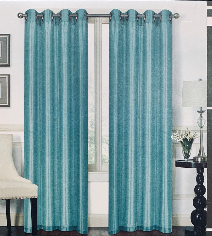 Austin Aqua One Grommet Top Window Curtain (1) Panel