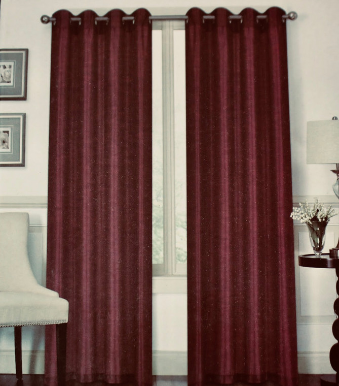 Austin Burgundy One Grommet-Top window Curtain (1) Panel