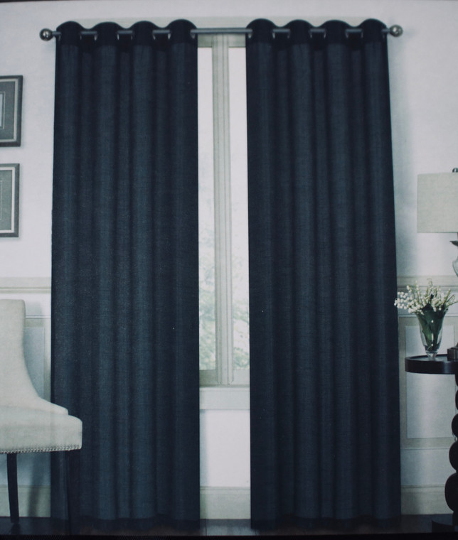 Austin Black One Grommet-Top Window Curtain (1) Panel