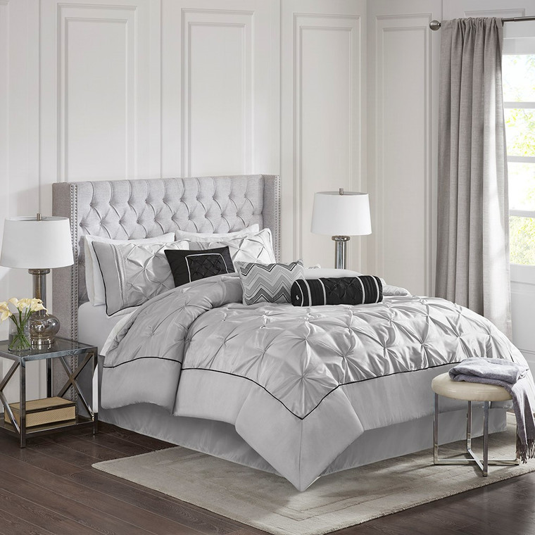 Grey Laurel 7 Piece Tufted Comforter Set Madison Park