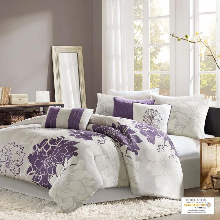 Purple & White 6 Piece Printed  Comforter Set by Madison Park