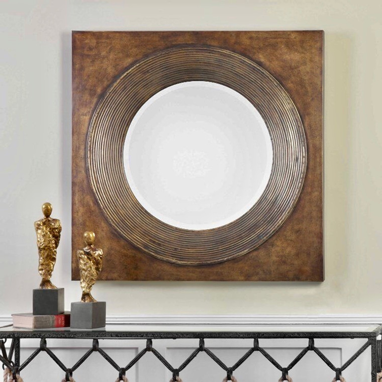 Uttermost  Eason Golden Bronze Round Mirror 09163