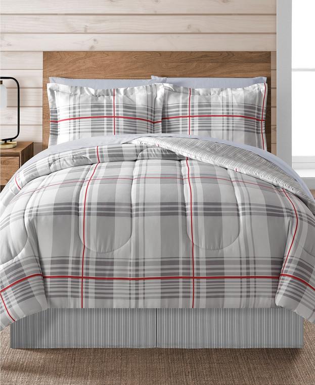 Gray Plaid 8-Pc. Comforter Set