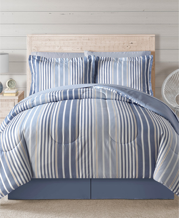 Blue Pinstripe 8-Pc. Comforter Set