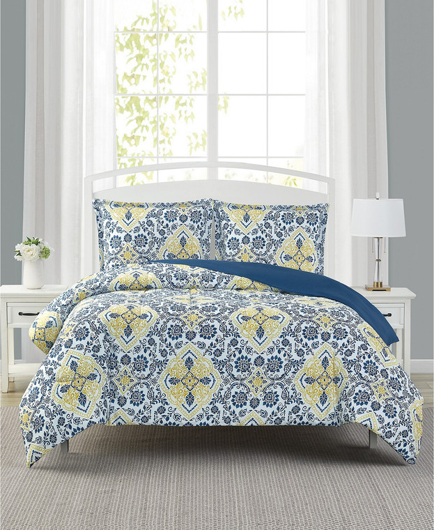Blue and Yellow 3-Pc. Reversible Comforter Set