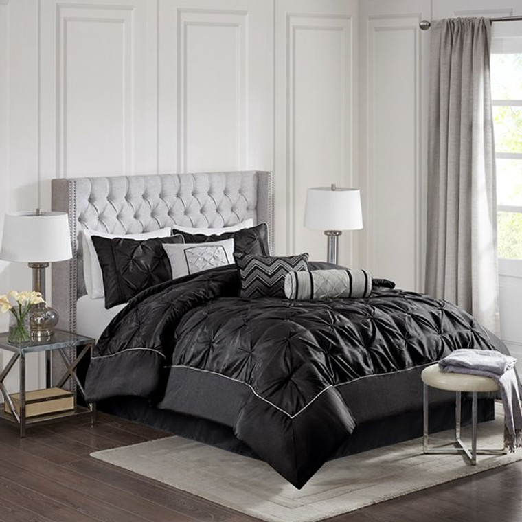 Sale! Black  7 Piece Tufted Comforter Set by  Madison Park