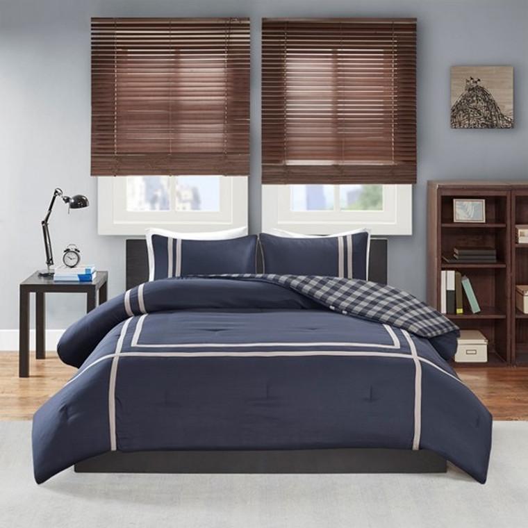 Dark Blue Reversible Comforter Set by  Intelligent Design