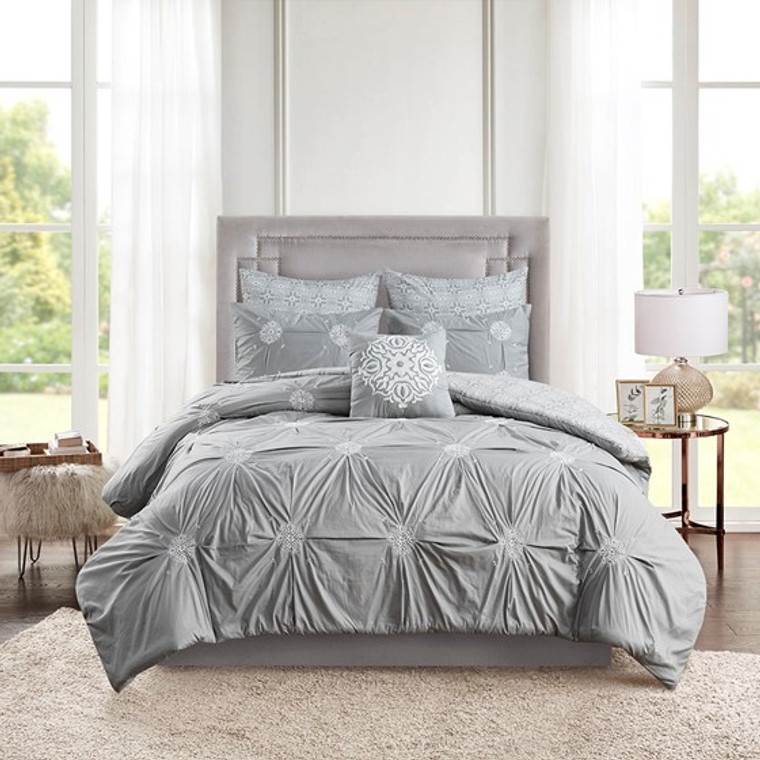 Sale! Gray  6 Piece Embroidered Cotton Reversible Comforter Set by Madison Park