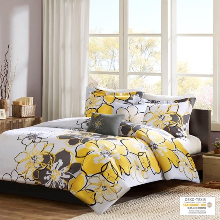 Yellow & Gray Floral Twin Allison Comforter Set by Mi Zone