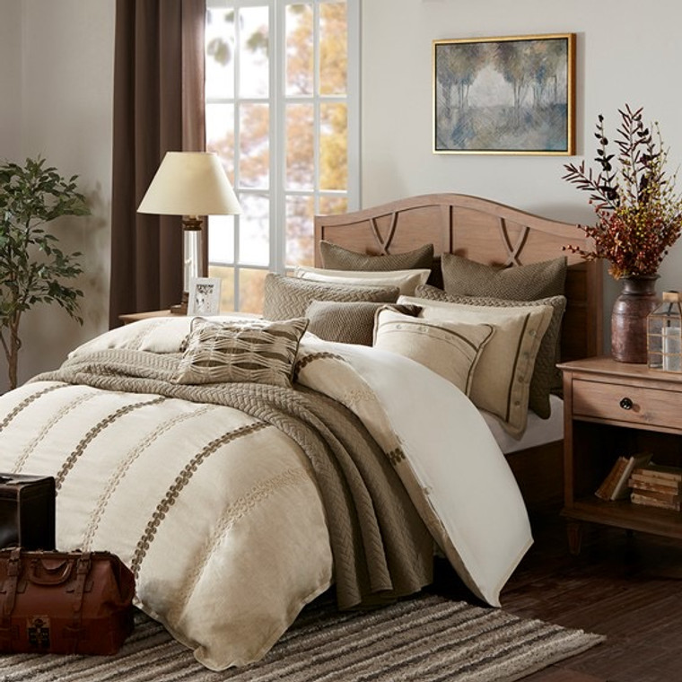 Beige & Brown Embroidered 9 Piece Chateau Comforter Set-Free Shipping!