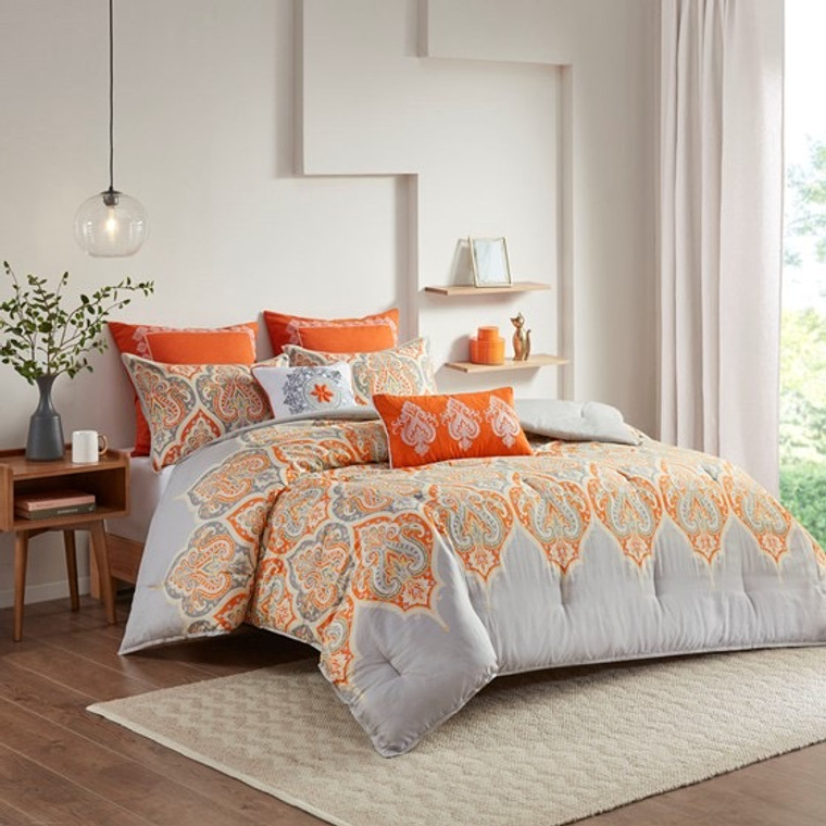 Orange and Gray 7 Piece Paisley  Comforter Set by  Madison Park-Clearance!
