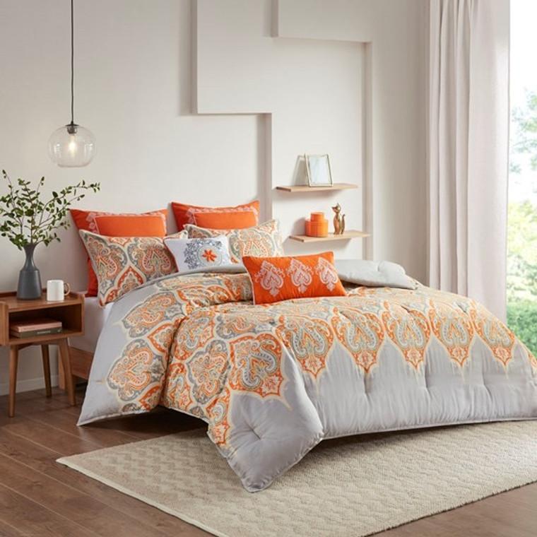 Sale! Orange and Gray 7 Piece Paisley  Comforter Set by  Madison Park