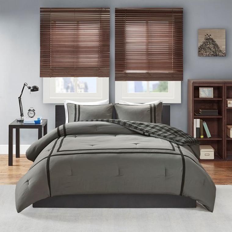 Gray & Black Reversible Comforter Set by Intelligent Design