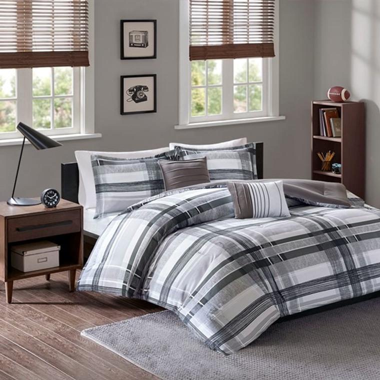 Black and White 4 Piece Plaid Comforter Set by Intelligent Design