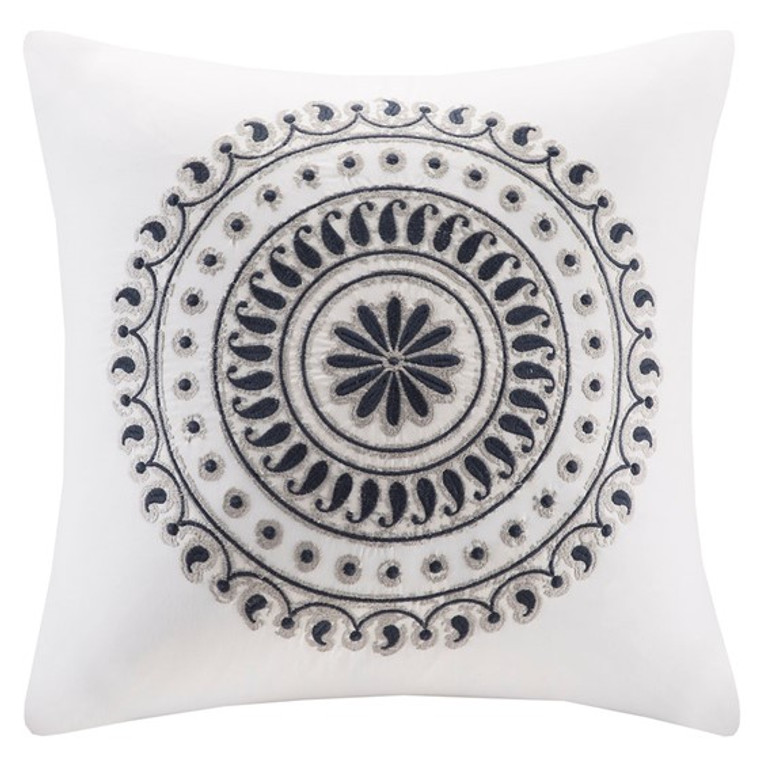Fleur White and Blue Embroidered Square Pillow by INK + IVY-One Pillow