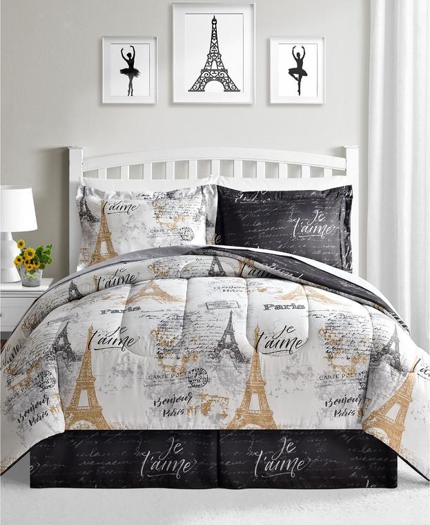 Black & Gold Paris Reversible 8-Pc. Comforter Set