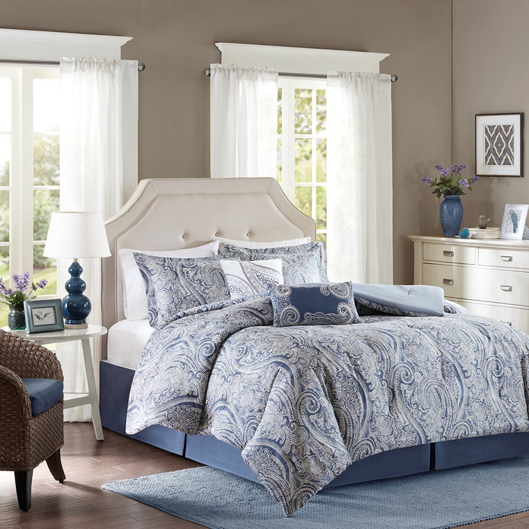 Sale! Blue and Gray 6 Pc. Comforter Set-Free Shipping!