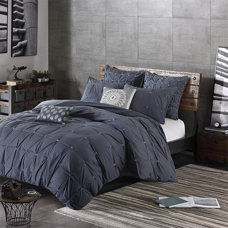 Sale! Navy 3 Piece Elastic Embroidered Cotton Duvet Cover Set by INK+IVY-Free Shipping!
