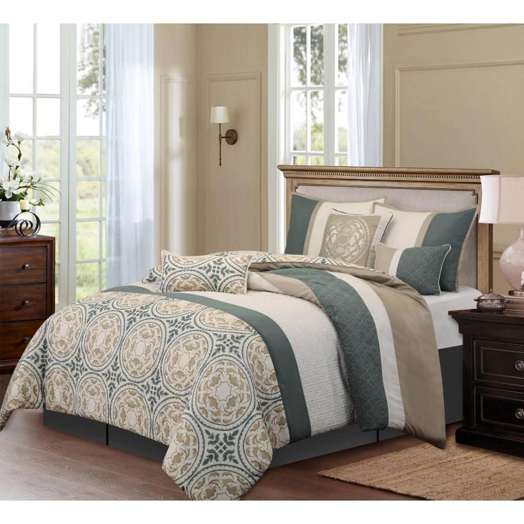 Camilia  7 Piece Grey Comforter Set by Nanshing