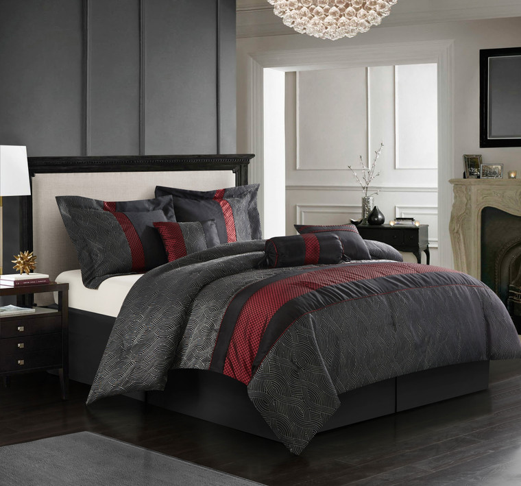 Kotlen Red and Black 7 Piece Comforter Set -Clearance!