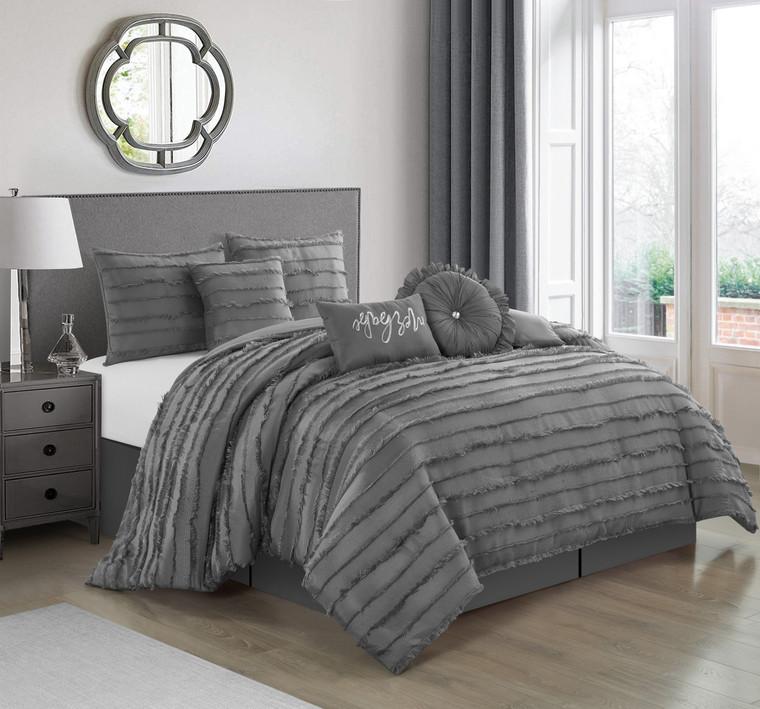 Martel Grey 7-Pc. Comforter Set by Nanshing