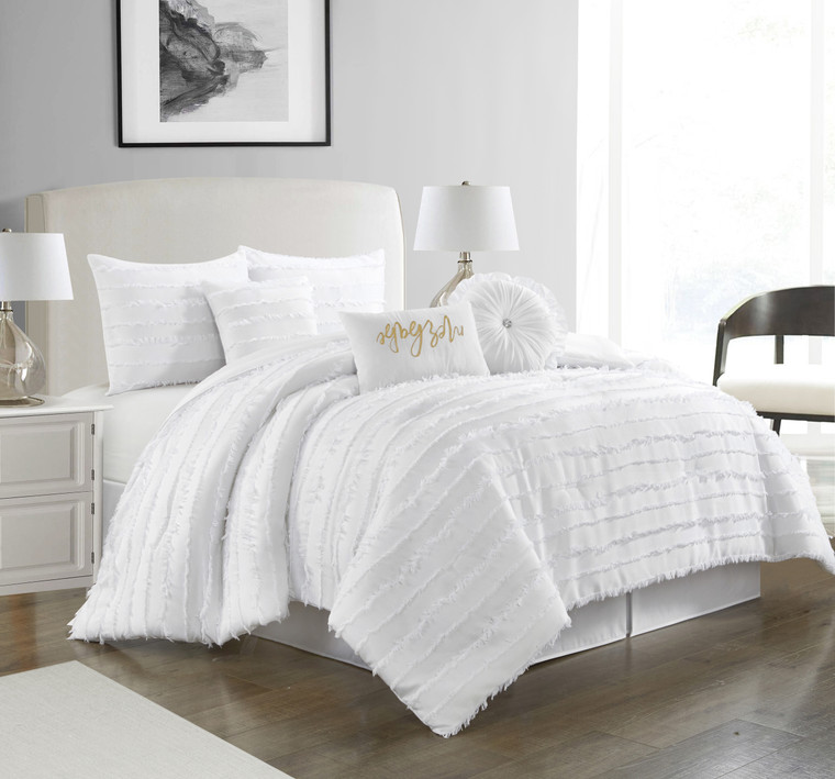 Martel White 7-Pc. Comforter Set by Nanshing